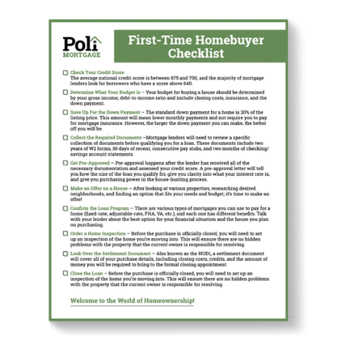 First Time Homebuyers Checklist