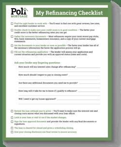 My Refinancing Checklist